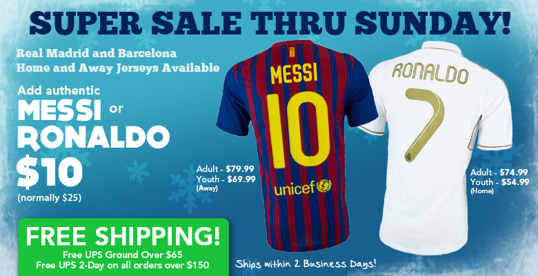 Holiday Day Alert: Add a Messi or Ronaldo Name to a Adult or Youth Jersey for Only $10 at Soccerpro.com