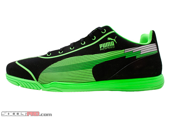 Bright Neon Soccer Cleats http://soccerprose.com/soccer-fans/puma-evospeed-star-indoor-soccer-shoes-black-with-fluo-green/