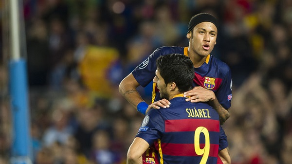 Neymar and Suarez carrying Barca